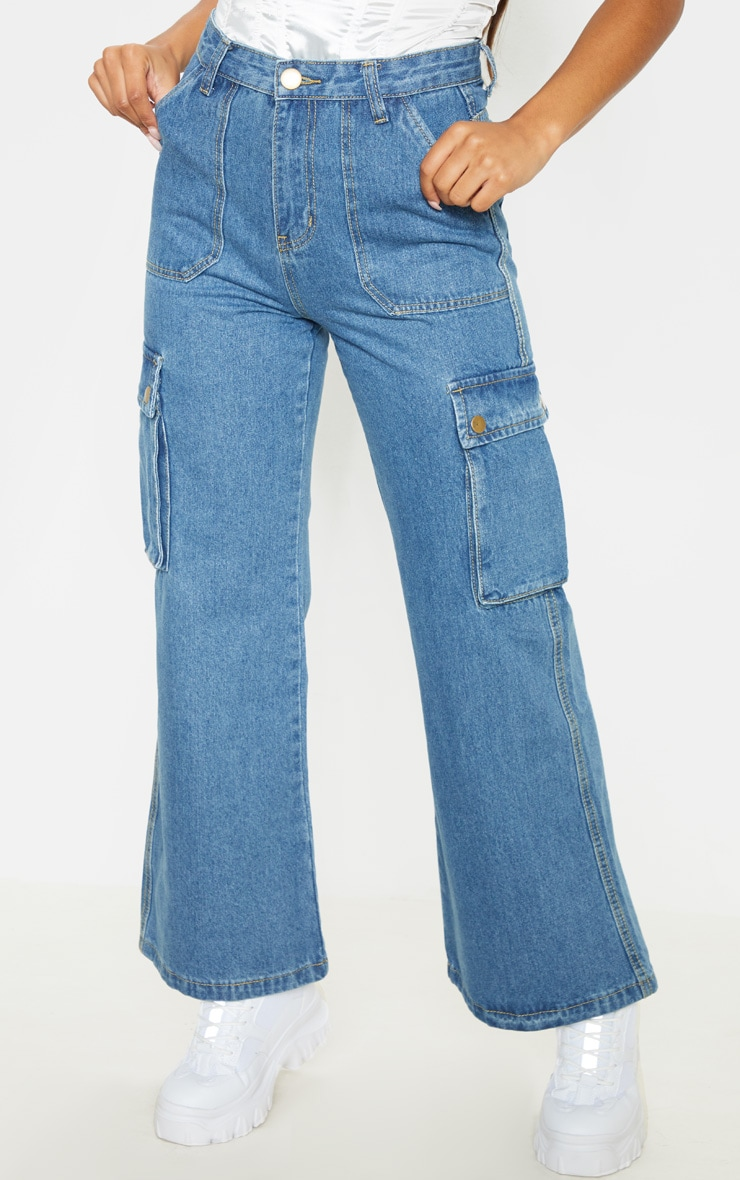 Mid Wash Cargo Baggy Wide Leg Cropped Jeans 2
