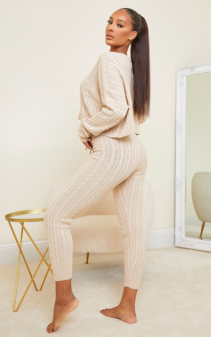 Stone Cable Knit Crop Jumper & Legging Set 2