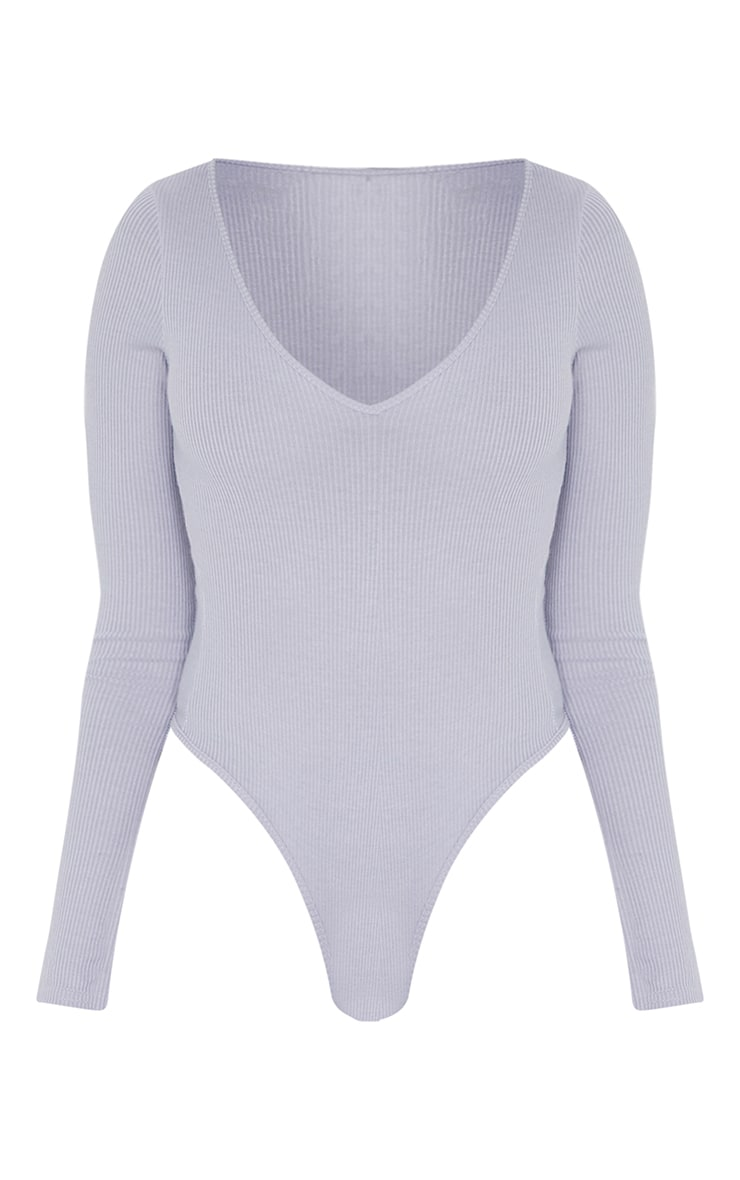 Tall Grey Ribbed Plunge Long Sleeve Bodysuit 6