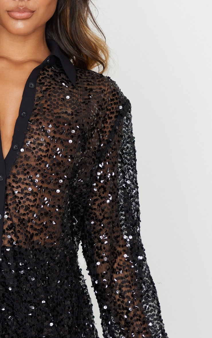 Black Mesh Sequin Oversized Shirt 5
