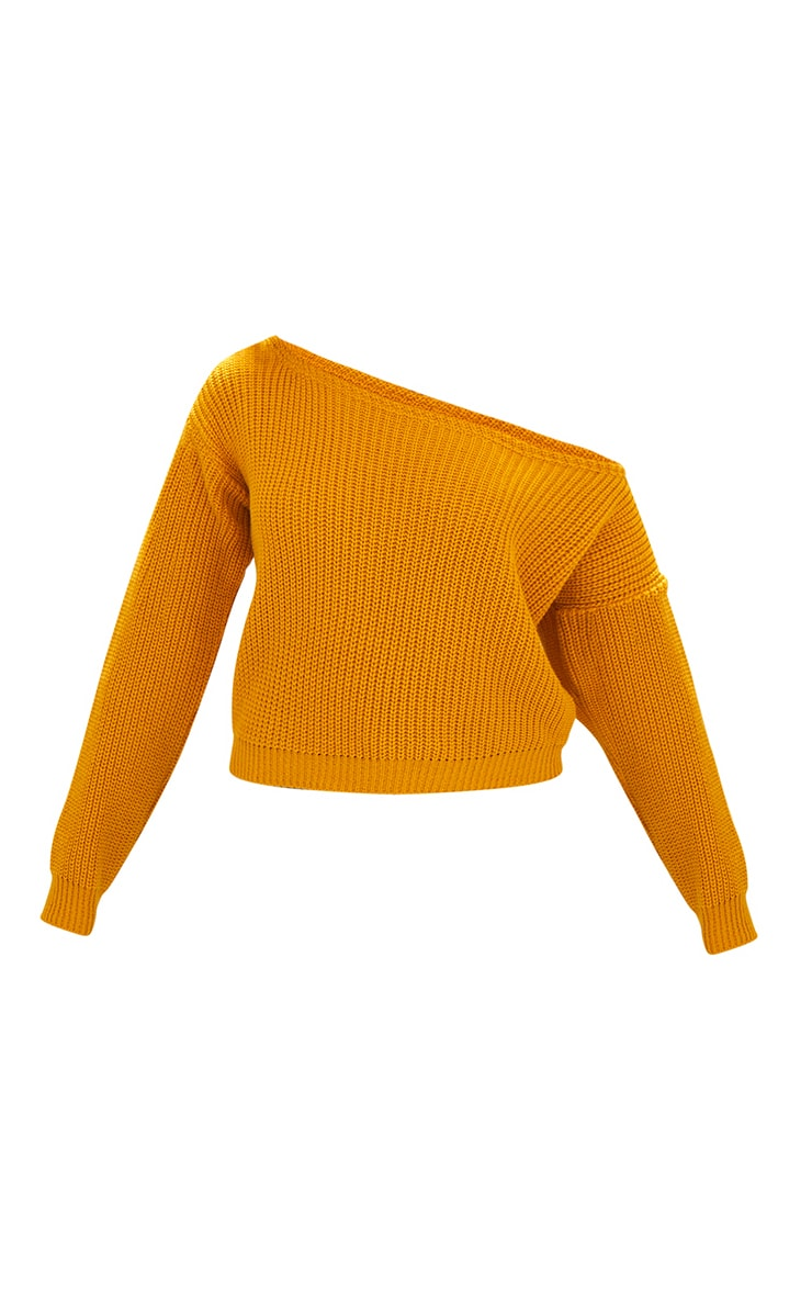 Mustard Off Shoulder Knitted Crop Sweater 3