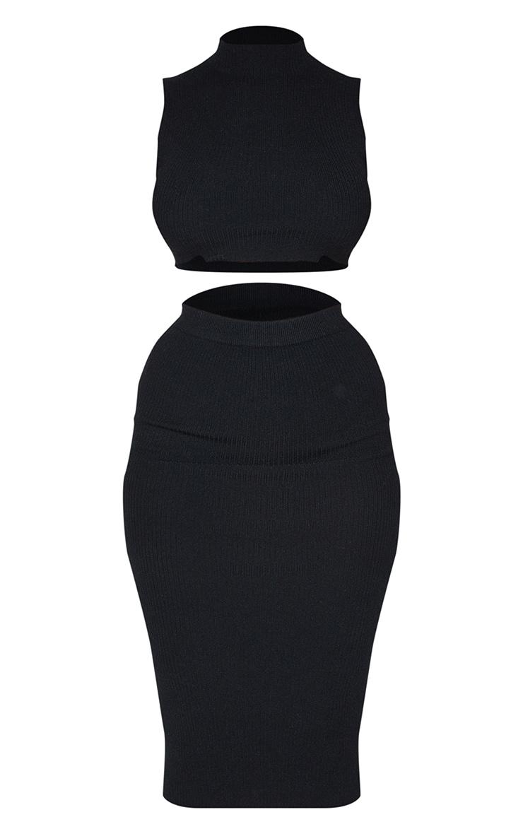 Black Soft Ribbed Turtle Neck Knitted Skirt Set 5
