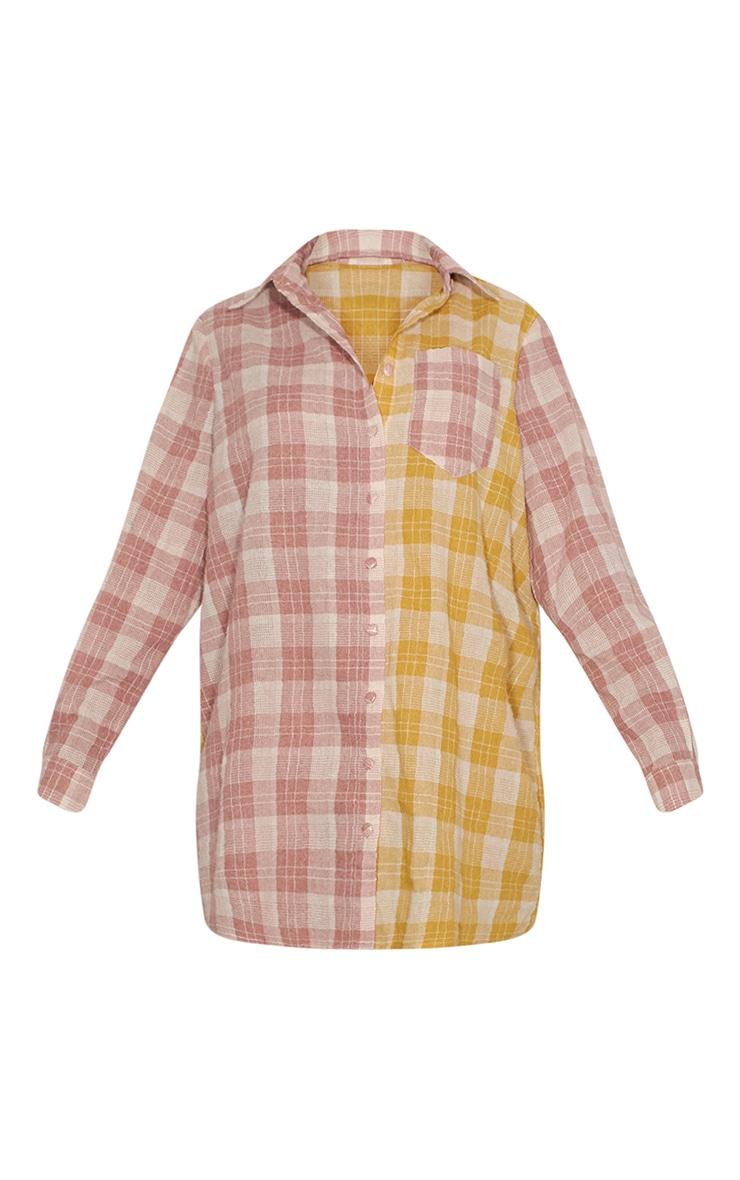 Multi Two Tone Checked Shirt Dress 5