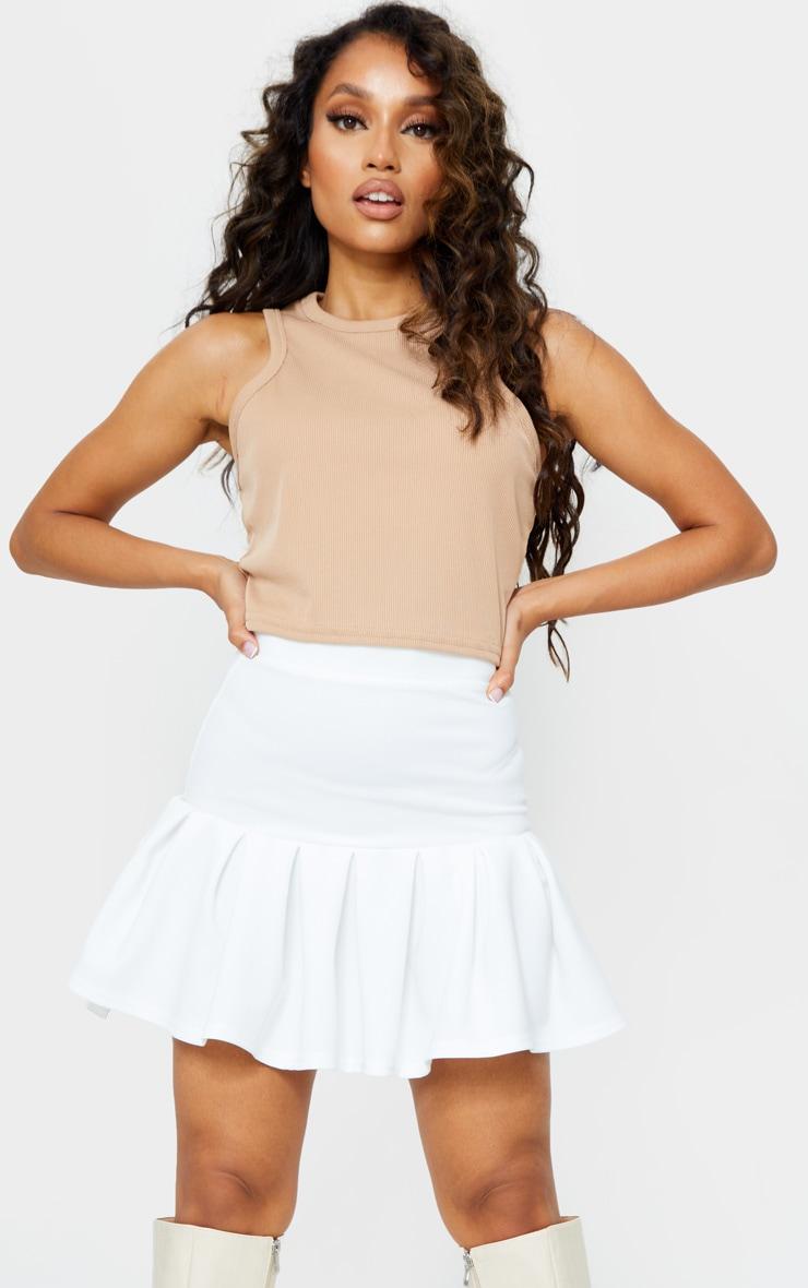 Petite White Pleated Step Hem Mini Skirt 4