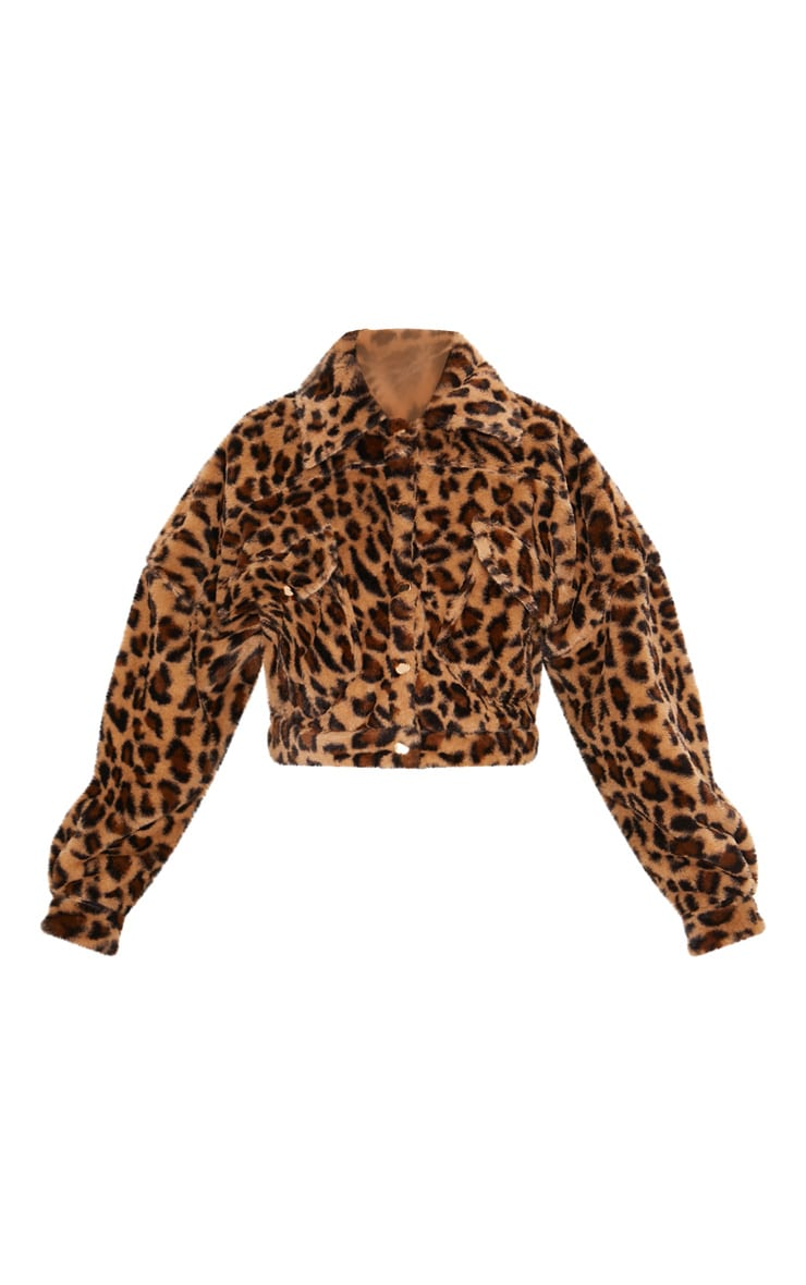 Brown  Cropped Leopard Trucker 3
