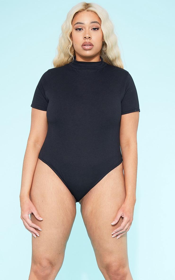 RECYCLED Plus Roll Neck Short Sleeve Bodysuit Black  1