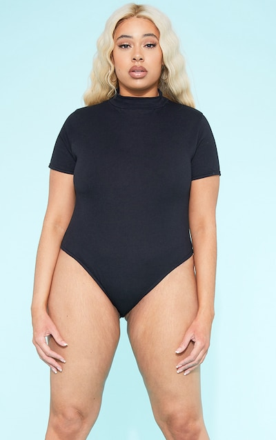 86dc27524a6d RECYCLED Plus Roll Neck Short Sleeve Bodysuit Black PrettyLittleThing  Sticker