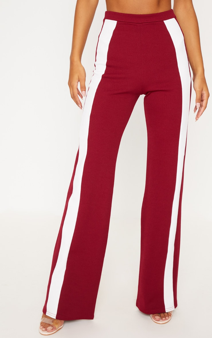 Maroon Contrast Panel Wide Leg Pants 2
