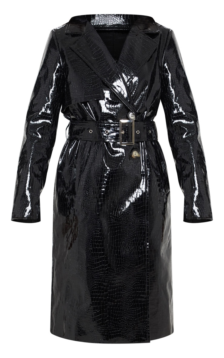 Black Croc PU Trench  3