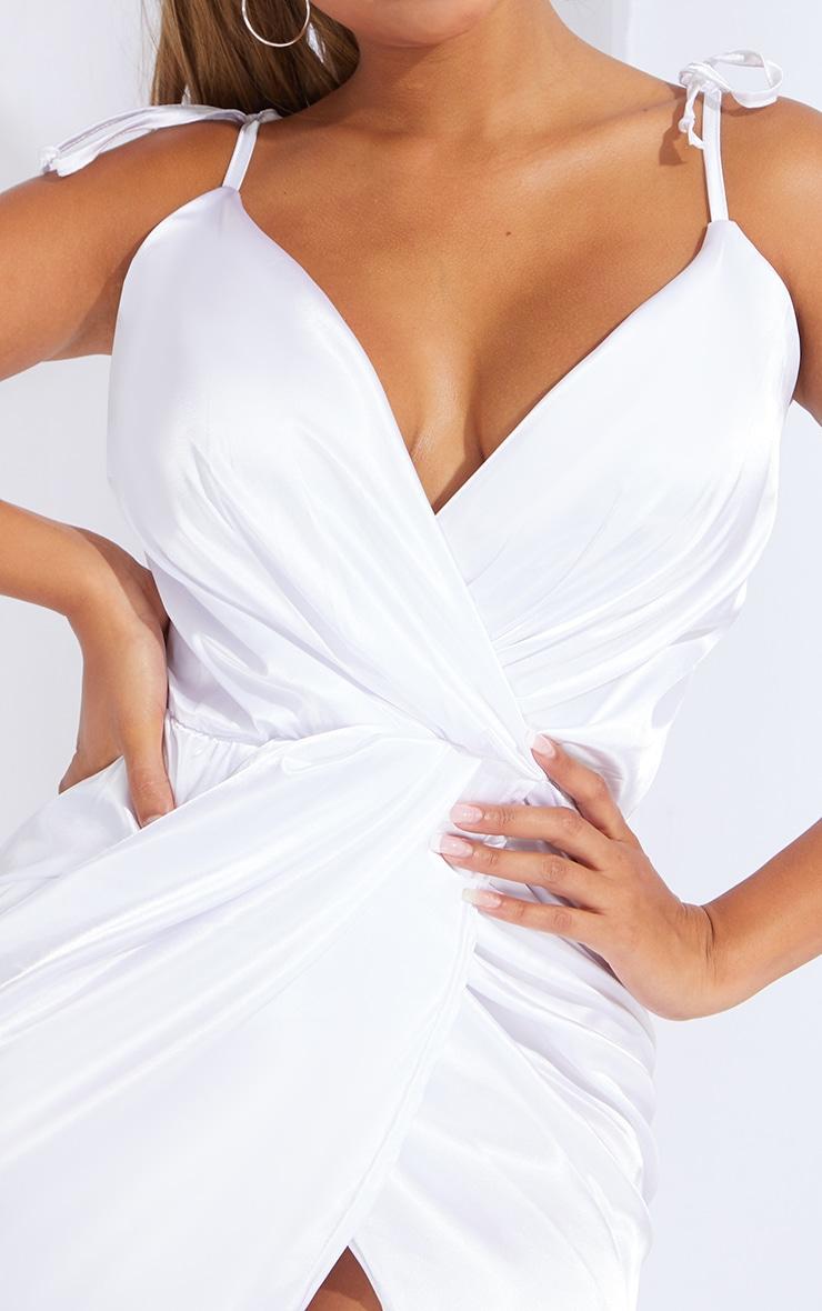Shape White Satin Tie Shoulder Wrap Bodycon Dress 4