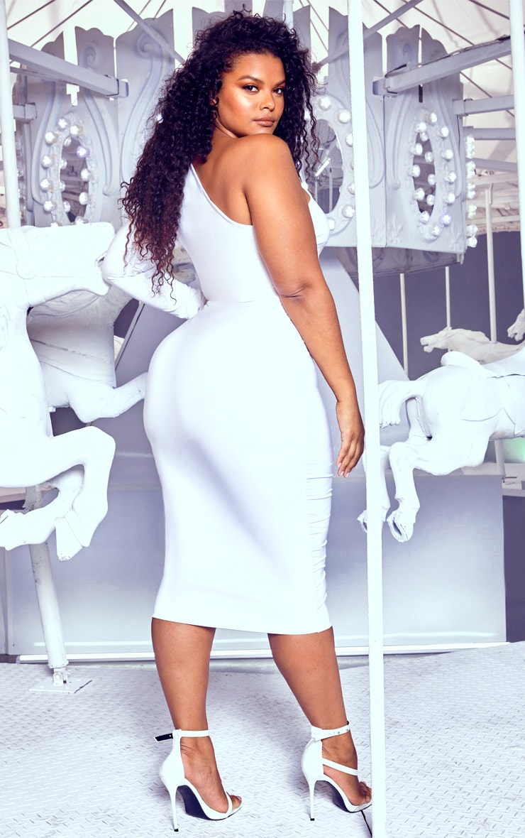 Plus White Cut Out One Shoulder Midi Dress 2