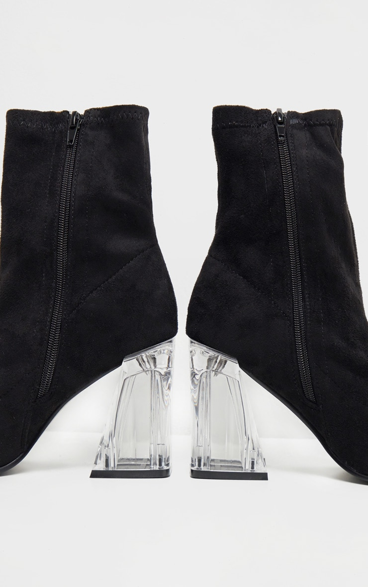 Black Clear Block Heel Sock Boot 4