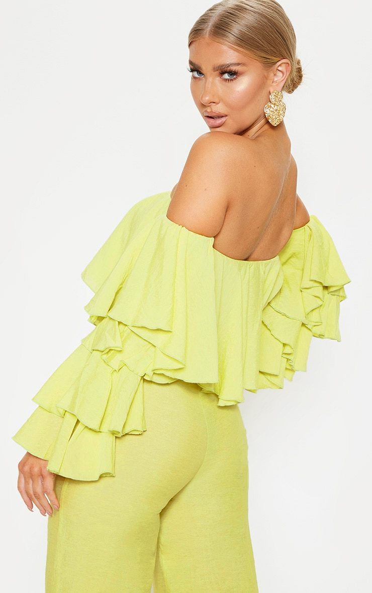 Lime Woven Bardot Tiered Sleeve Crop Top 2