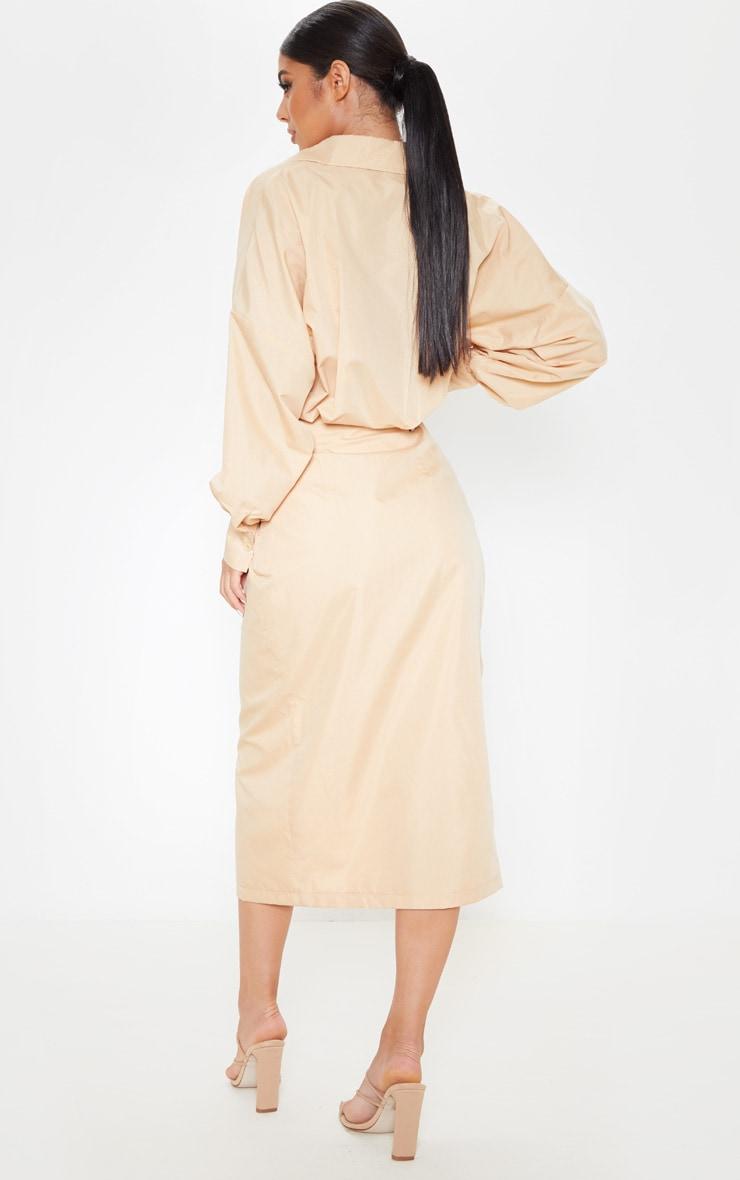 Robe fauve mi-longue style chemise 2