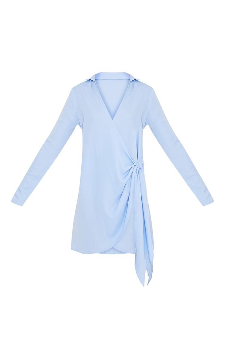 Shaylene robe chemise sans manches bleu poudré en satin à cordon à nouer à la taille 3
