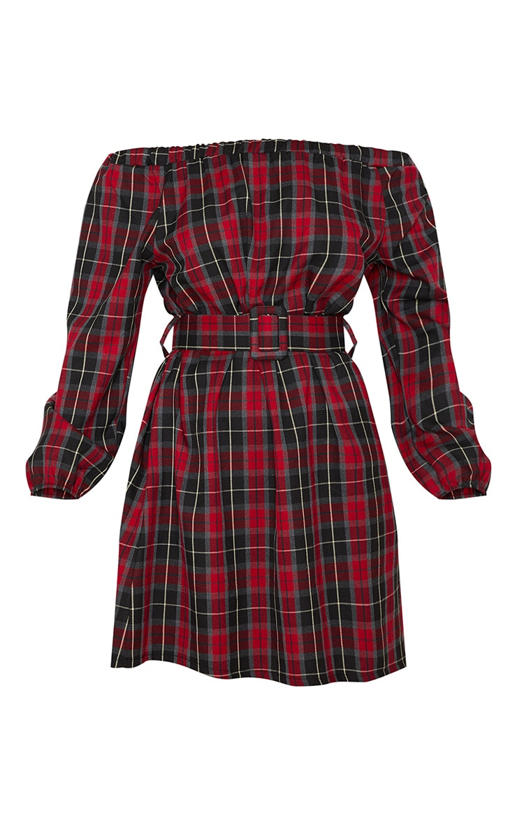Red Tartan Bardot Belted Mini Dress 3