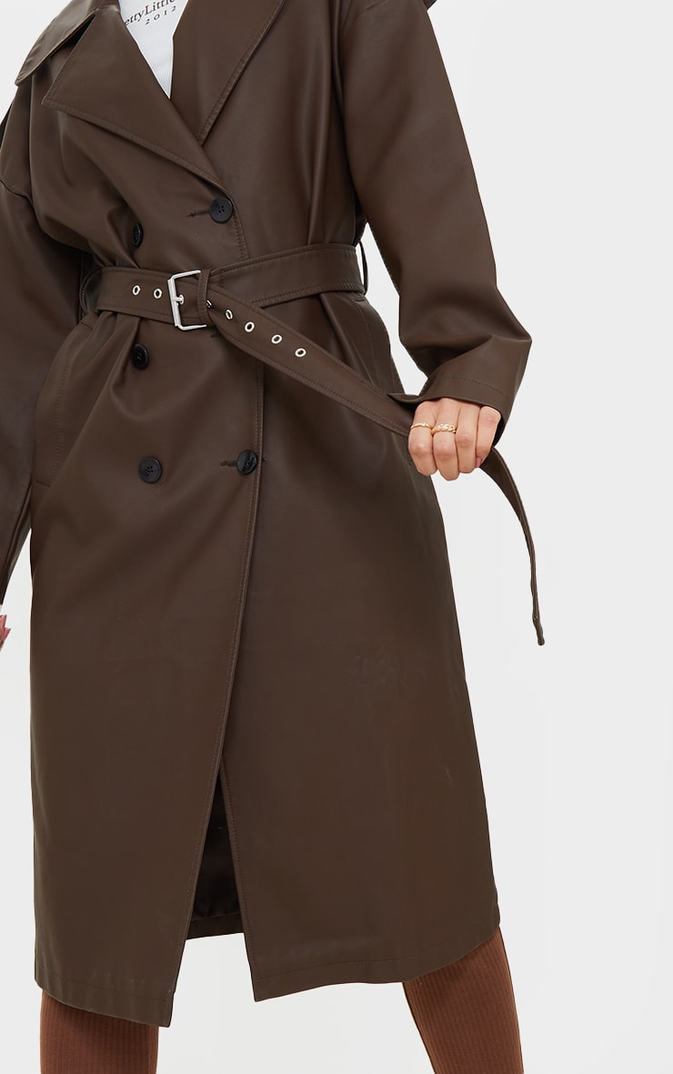Chocolat Faux Leather Drop Arm Midi Trench 4