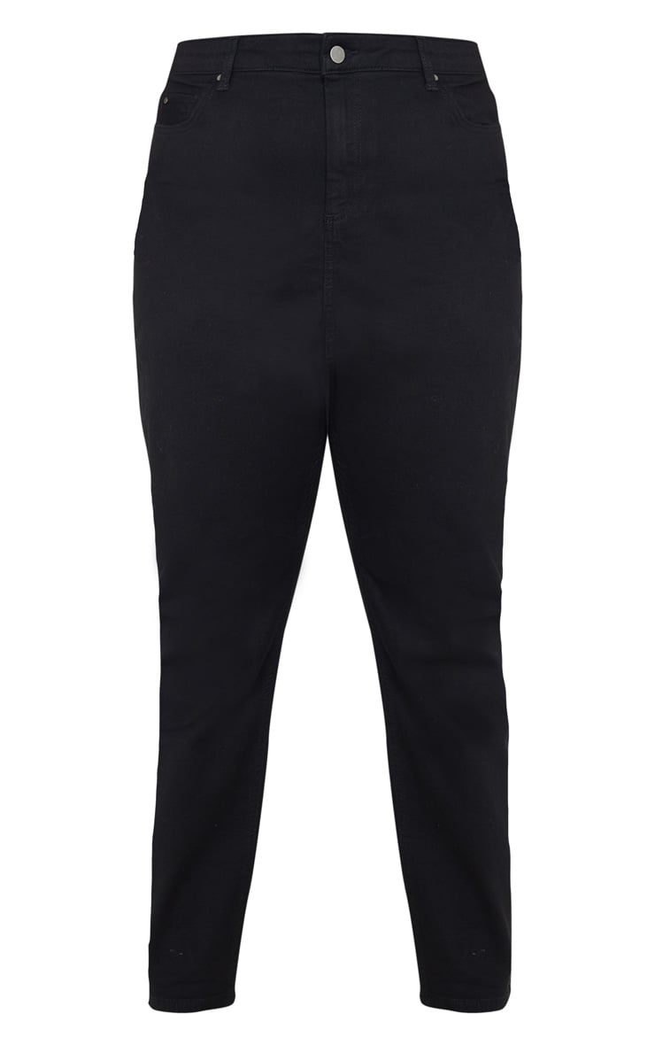 Plus Black High Waist Straight Leg Jeans 3