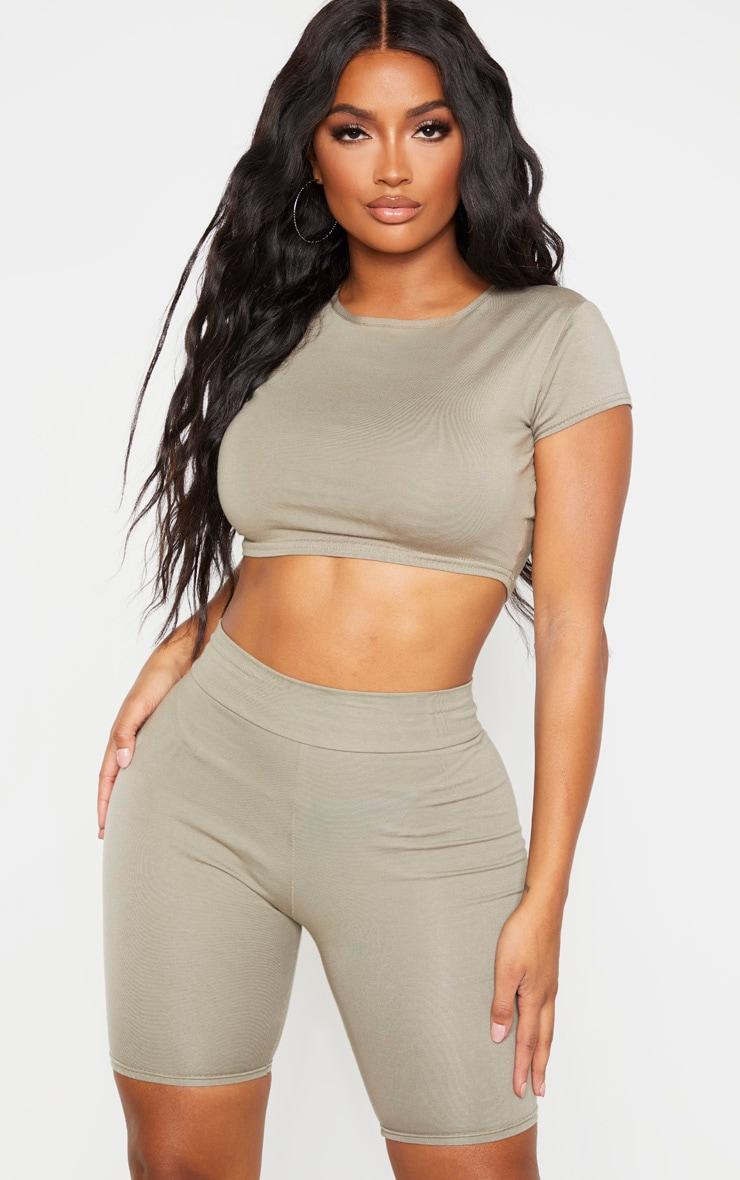 Shape Khaki Cotton Cap Sleeve Crop Top 1