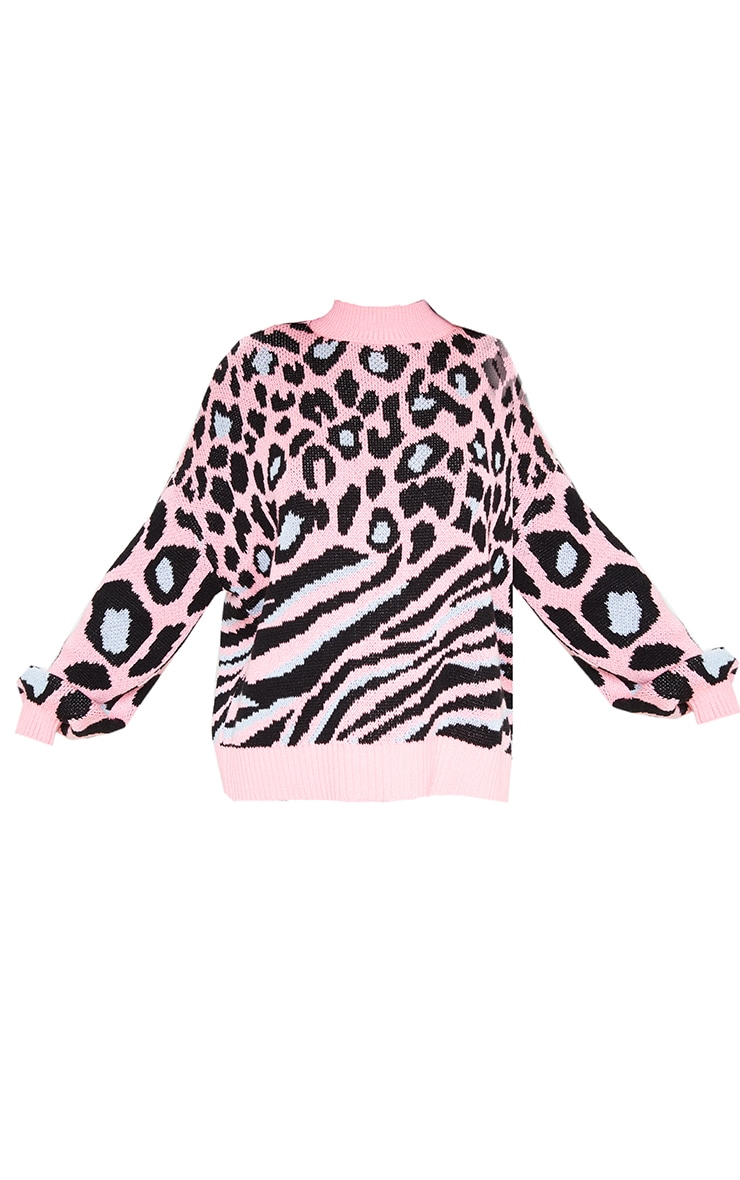 Pink Mixed Animal Print Knitted Sweater 3