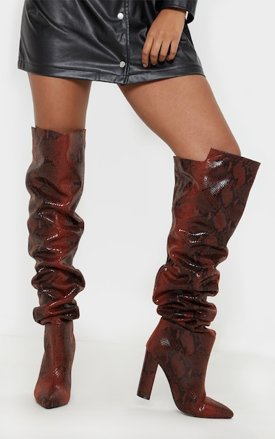 7e6d5a3b01e Snake Western Thigh High Boot