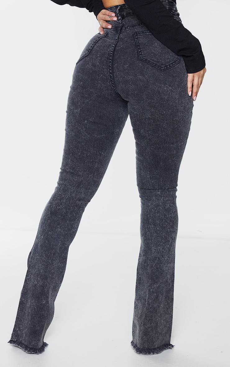 Shape Black Acid Wash Stretch Fray Hem Flared Jeans 3