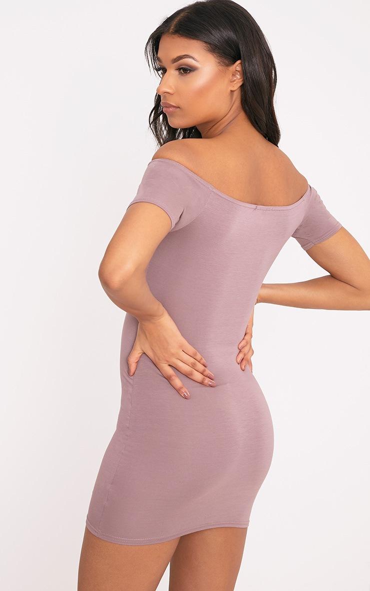 Basic Truffle Short Sleeve Bardot Bodycon Dress 2