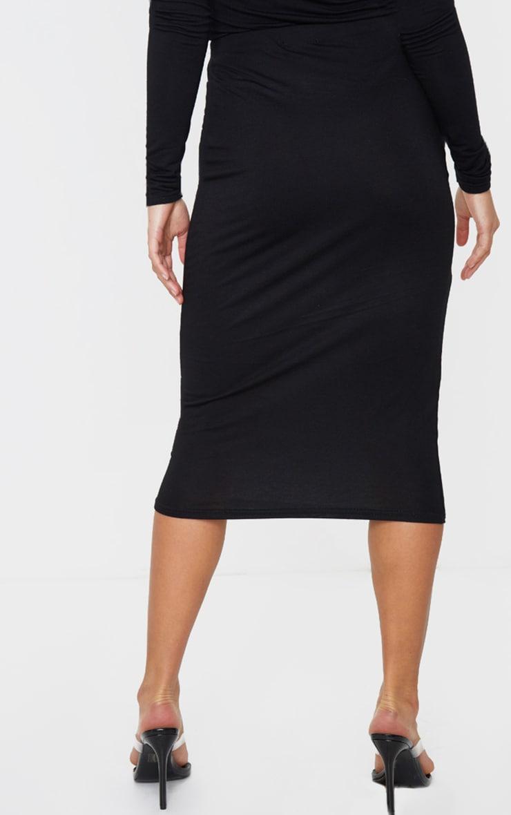 Petite Black Jersey Midi Skirt 3