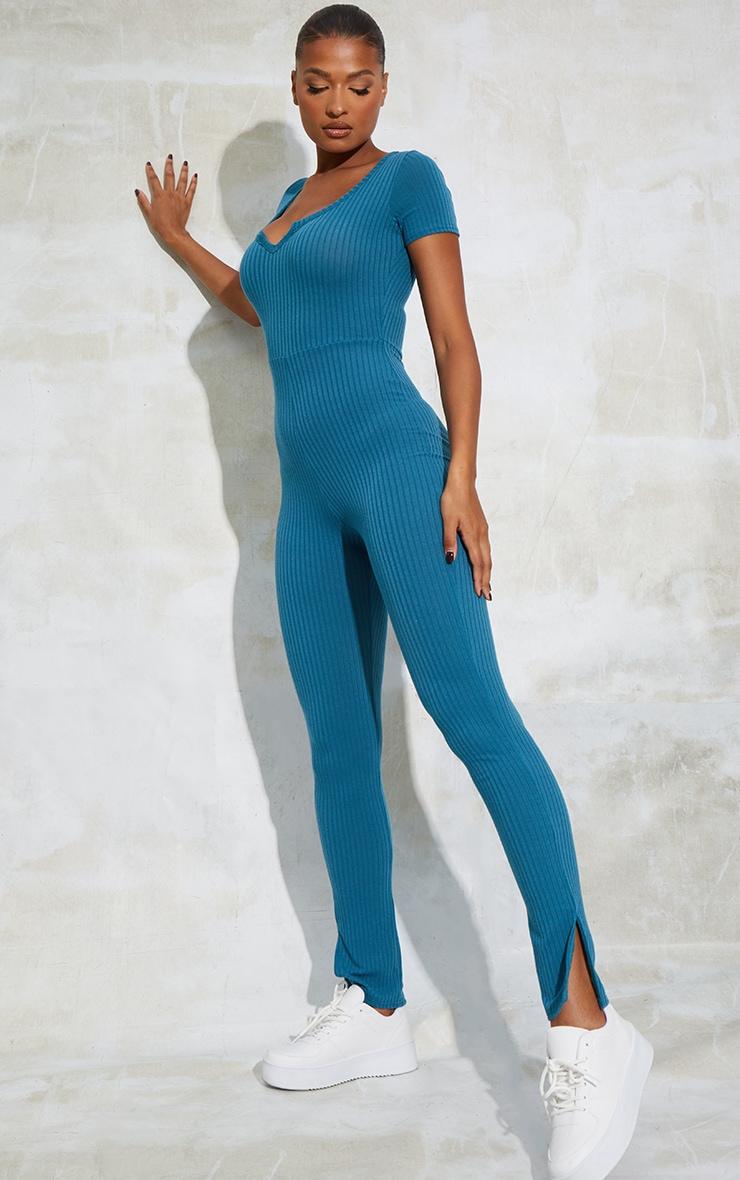 Petrol Blue V Detail Short Sleeve Jumpsuit 3