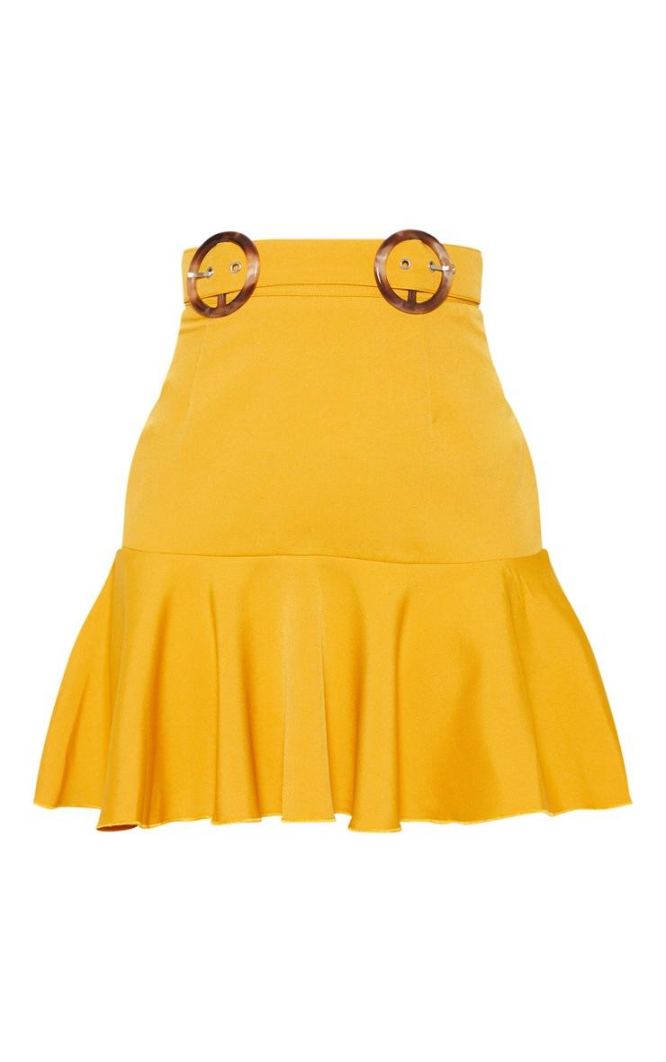 Petite Mustard Peplum Hem Tortoise Belt Skirt 3