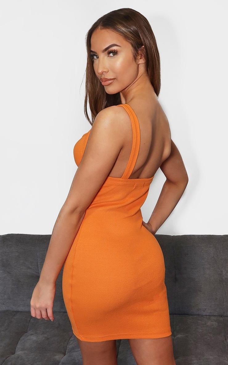 Tangerine Ribbed Underbust Detail Bodycon Dress 2