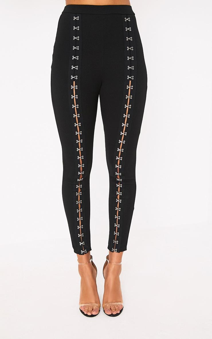 Pantalon skinny noir à agrafes 2