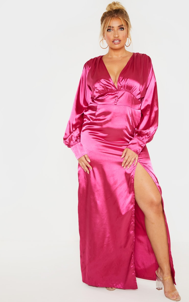 Plus Fuchsia Button Front Maxi Dress 1