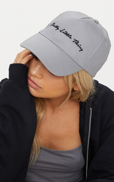 PRETTYLITTLETHING Grey Embroidered Cap