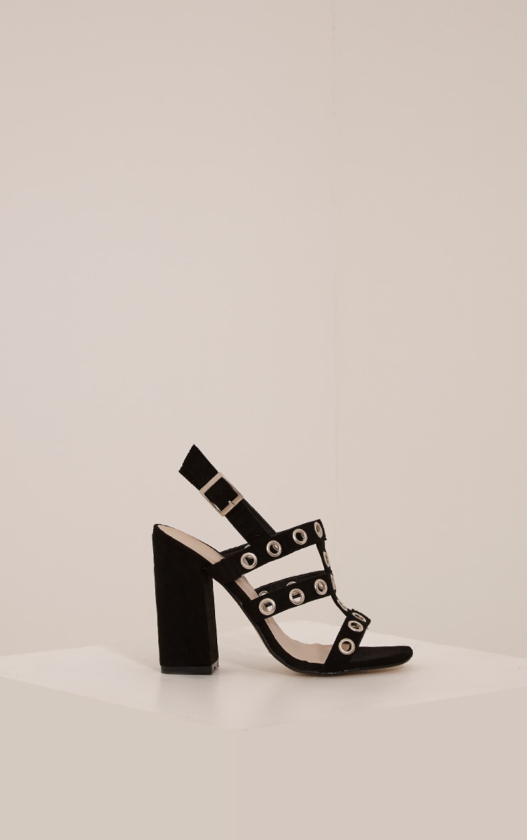 Ray Black Faux Suede Eyelet Detail Heeled Sandals 3