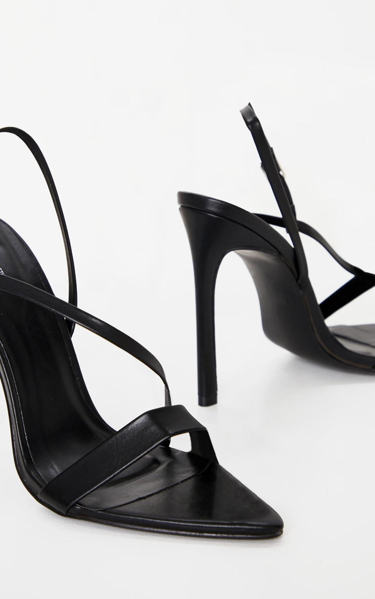 Black Asymmetric Strap Point Toe Heeled Sandal 4
