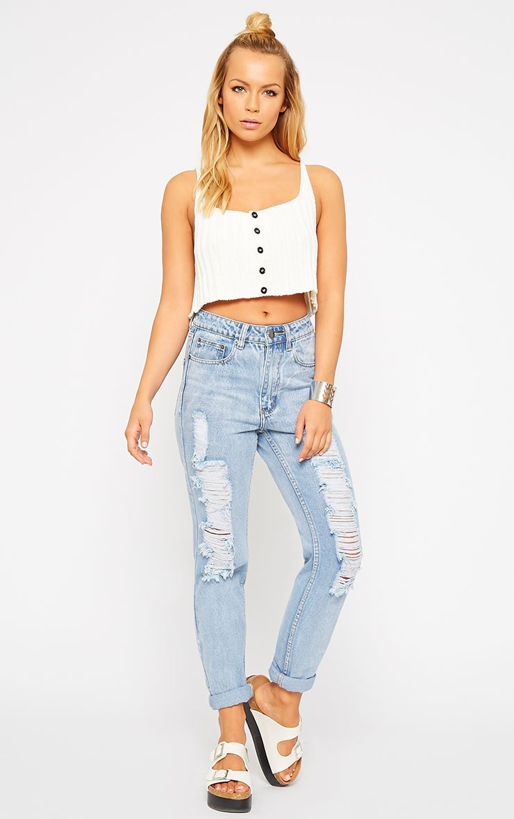 Susy Cream Knitted Cropped Vest Top 3