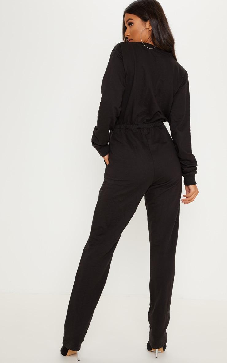 Black Button Up Loop Back Jumpsuit  2