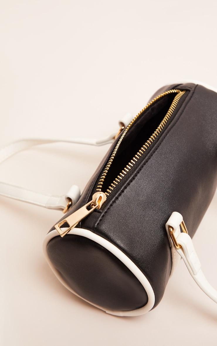 Mini-sac cylindrique noir et blanc 4