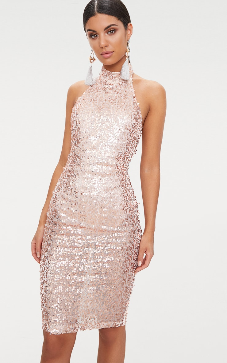 Rose Gold Sequin High Neck Midi Dress 1