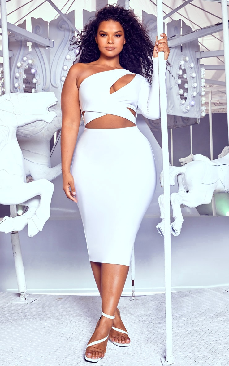 Plus White Cut Out One Shoulder Midi Dress 1