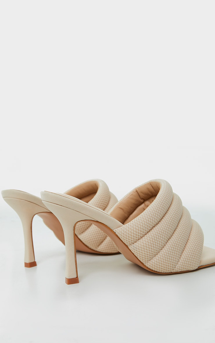 Cream Tube Strap Extreme Square Toe Mule Heels 3