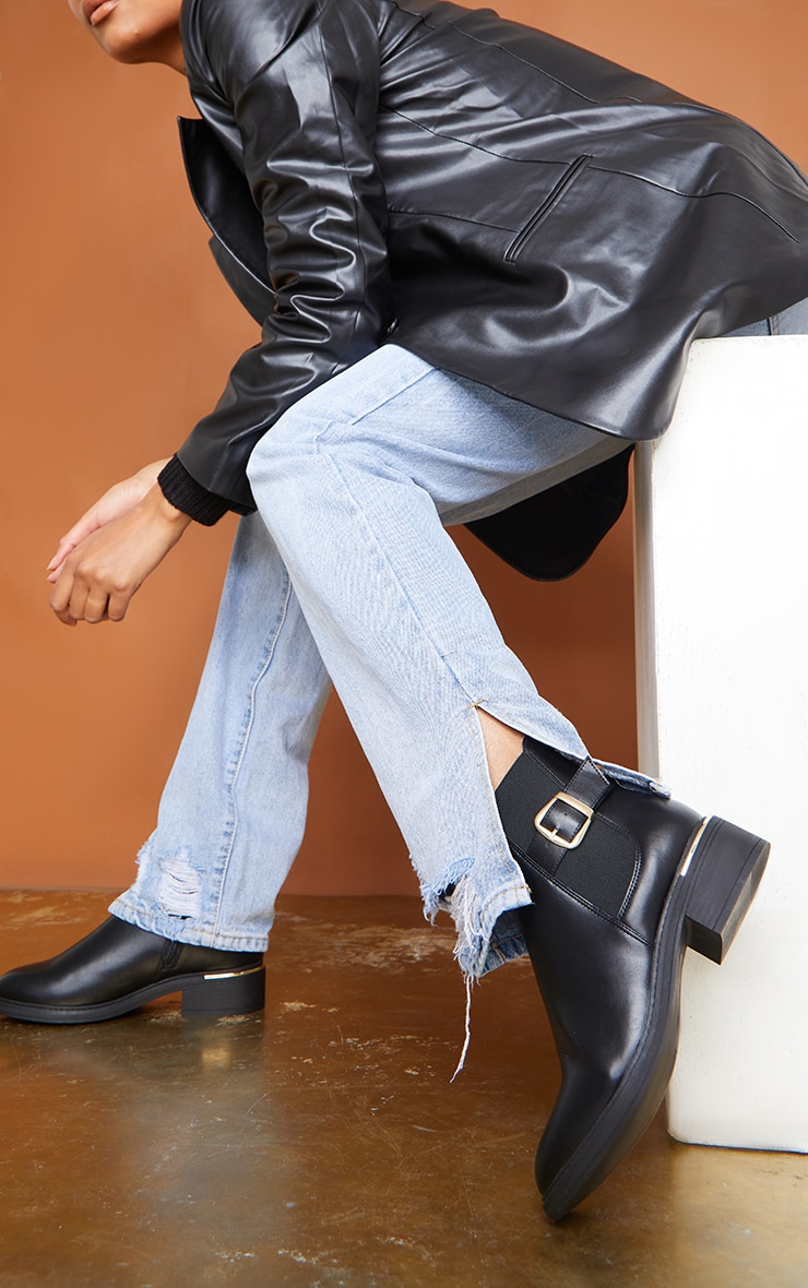 Black Wide Fit Buckle Chelsea Boots 1