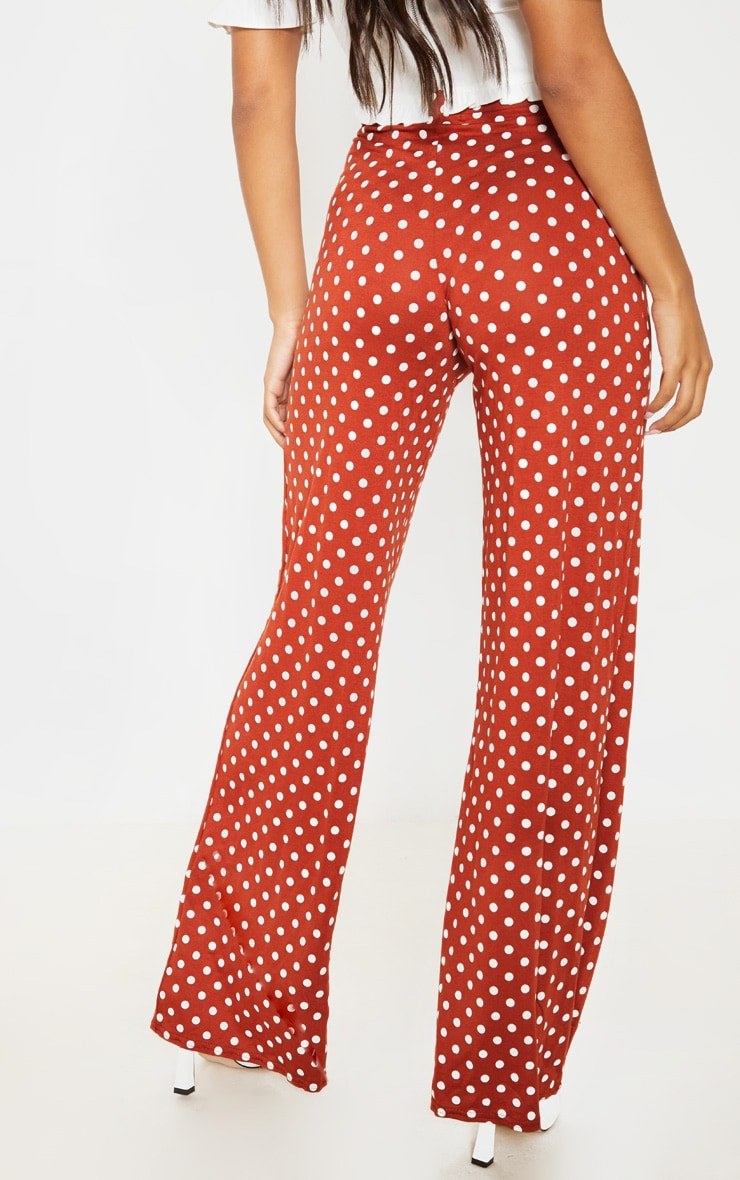 Rust Polka Dot Basic Wide Leg Pants 4