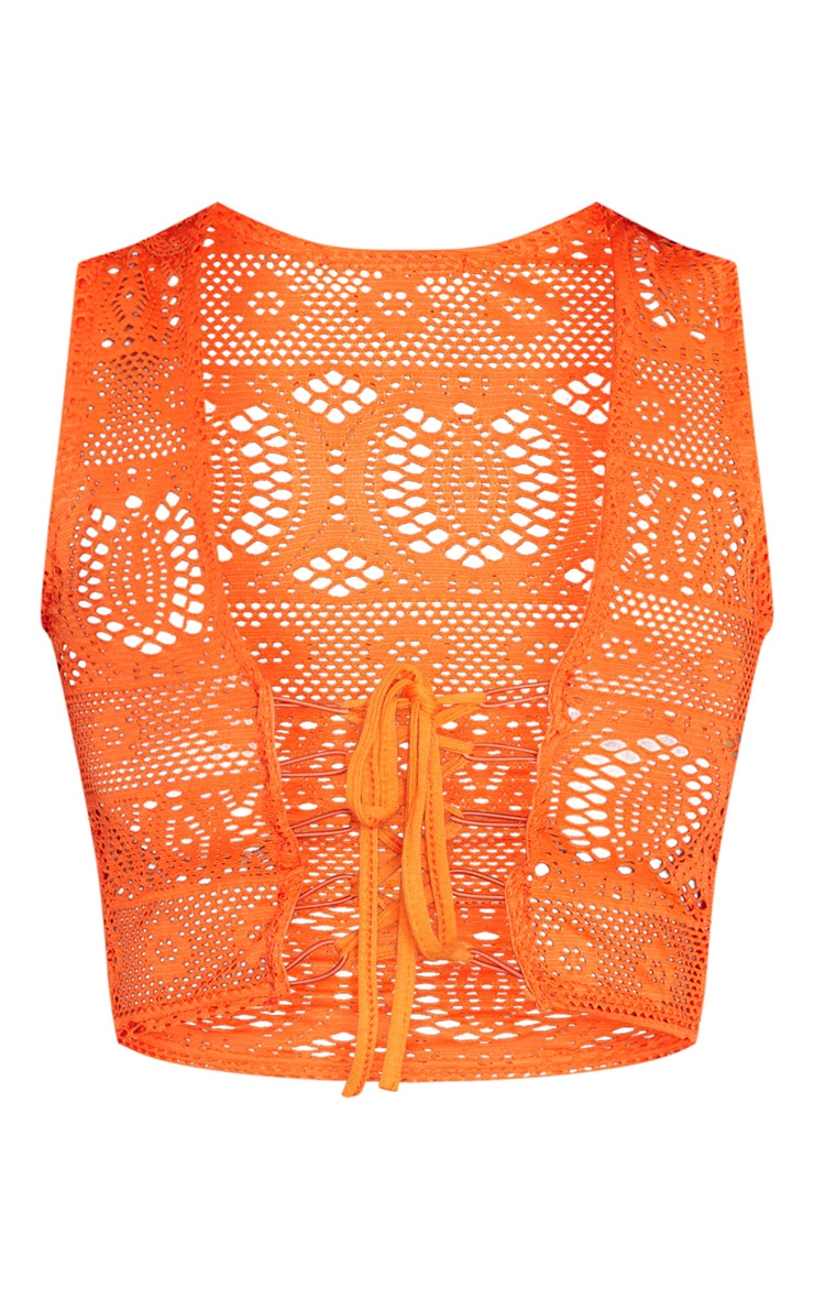Orange Crochet Lace Up Crop Top  3