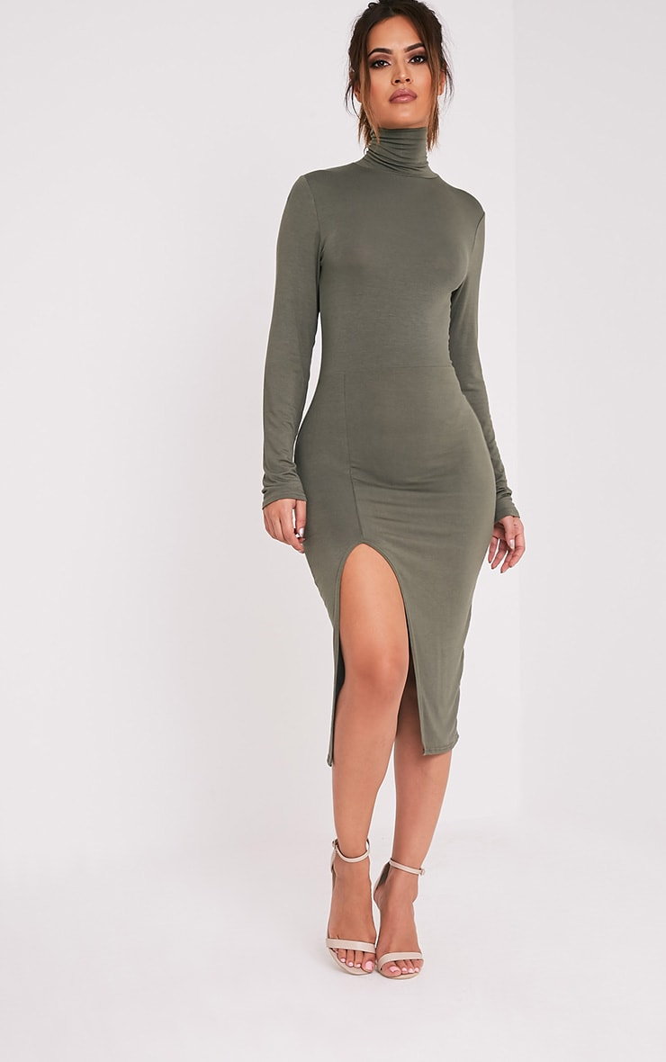 Fazena Khaki High Neck Side Split Midi Dress 1