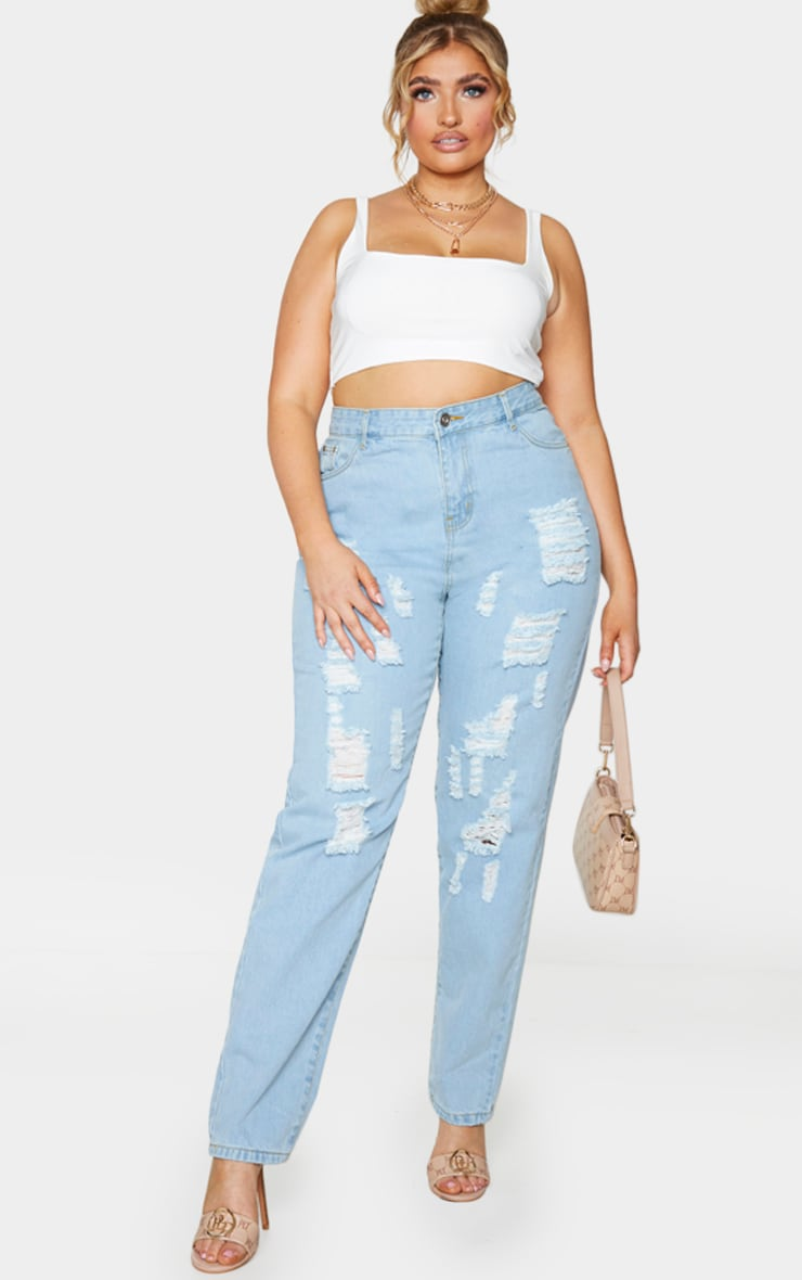Plus Light Wash Extreme Distressed Rip Mom Jeans 1