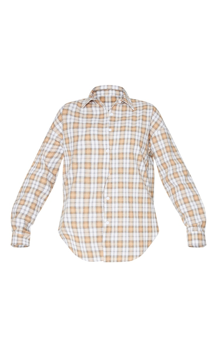 Tall Cream Oversized Checked Shirt 6