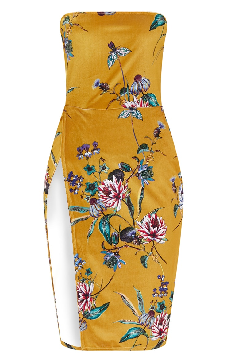 Mustard Floral Velvet Extreme Split BandeauMidi Dress 3