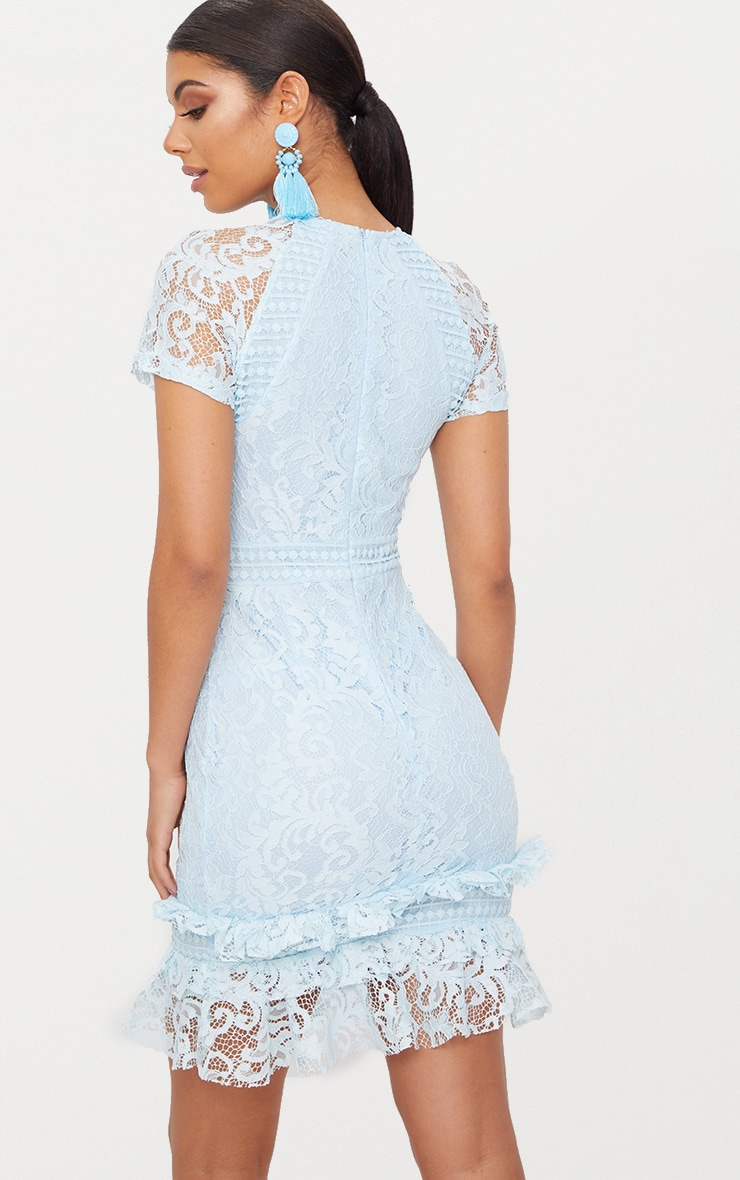 Dusty Blue Frill Hem Lace Bodycon Dress 2